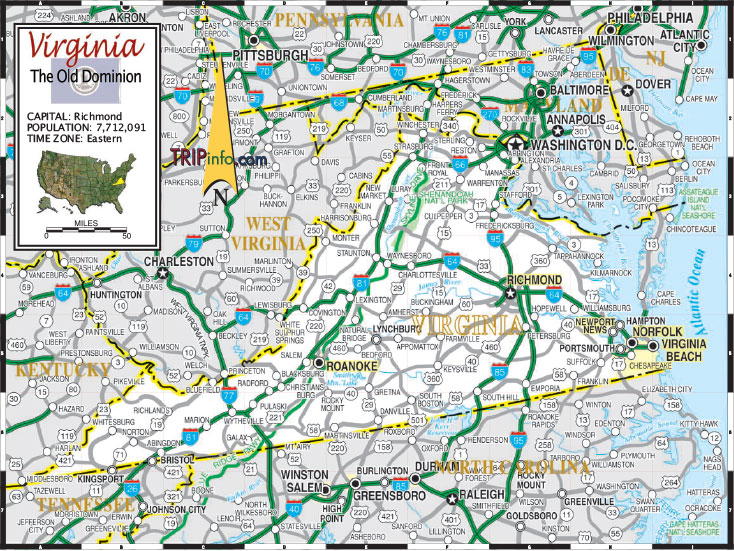 Interstate route I-95 from New York State to Richmond. Then I-64 south east to Norfolk, VA.